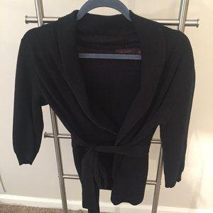 Black Tie-Belt Sweater